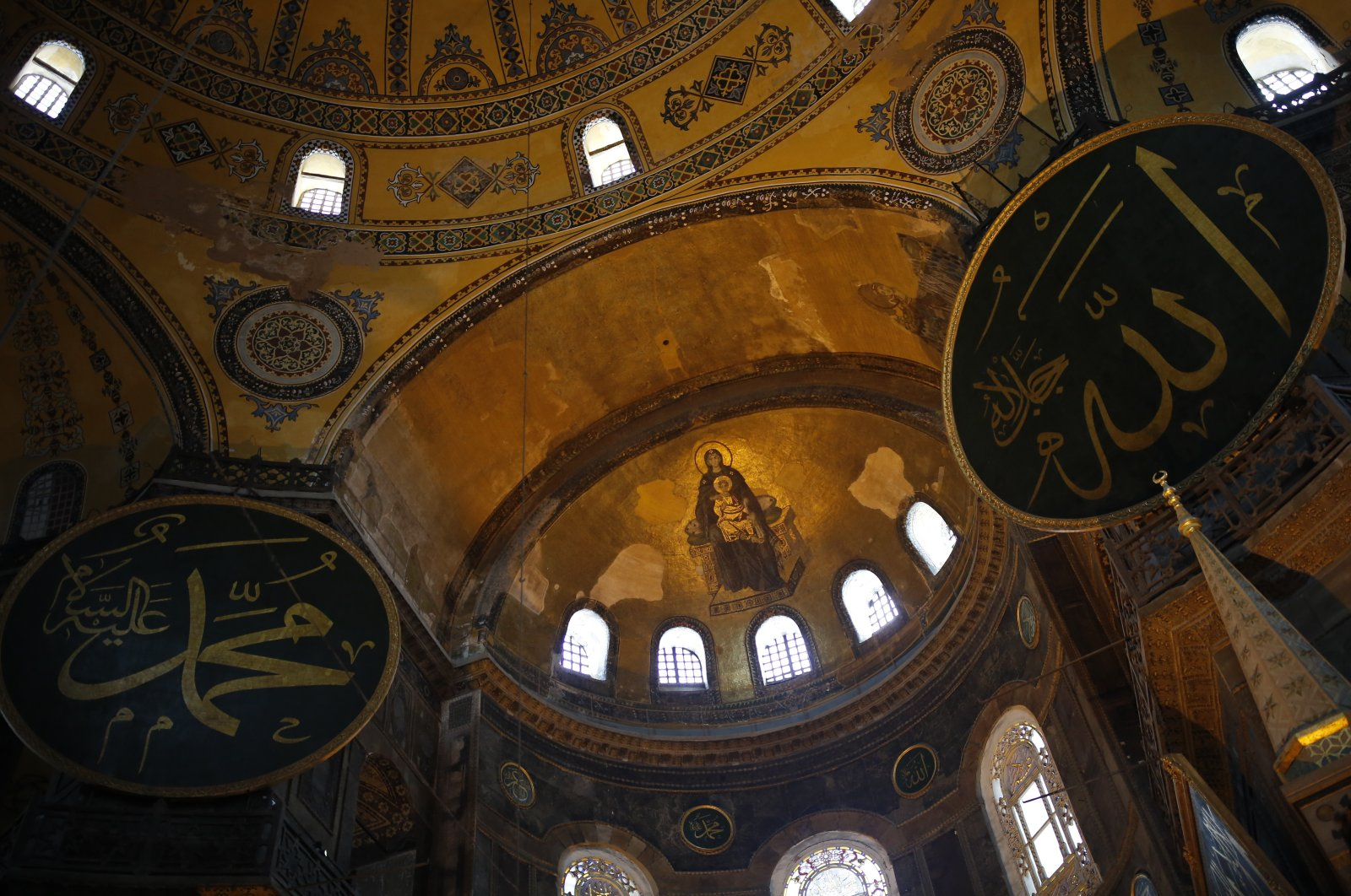 A view of the Byzantine-era Hagia Sophia, an UNESCO World Heritage site and one of Istanbul's main tourist attractions in the historic Sultanahmet district of Istanbul, July 10, 2020. (AP Photo)