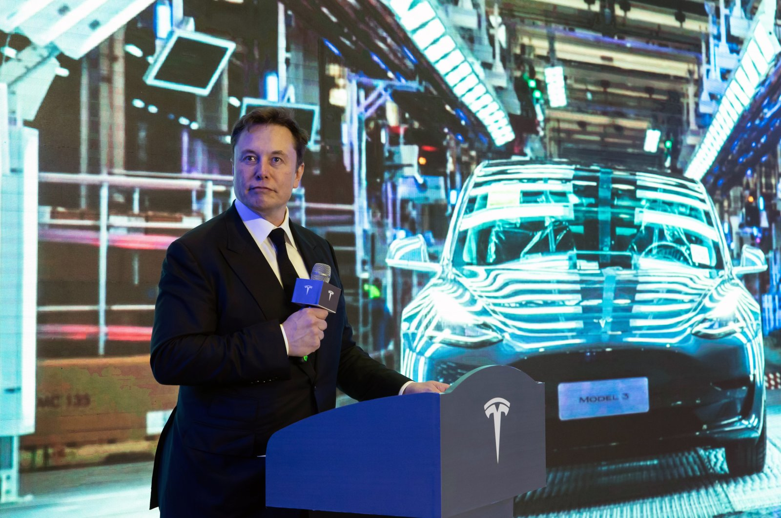 Elon Musk delivers a speech at the delivery ceremony of the first batch of Shanghai made Tesla Model 3 sedans in Shanghai, China, Jan. 7, 2020. (EPA Photo)