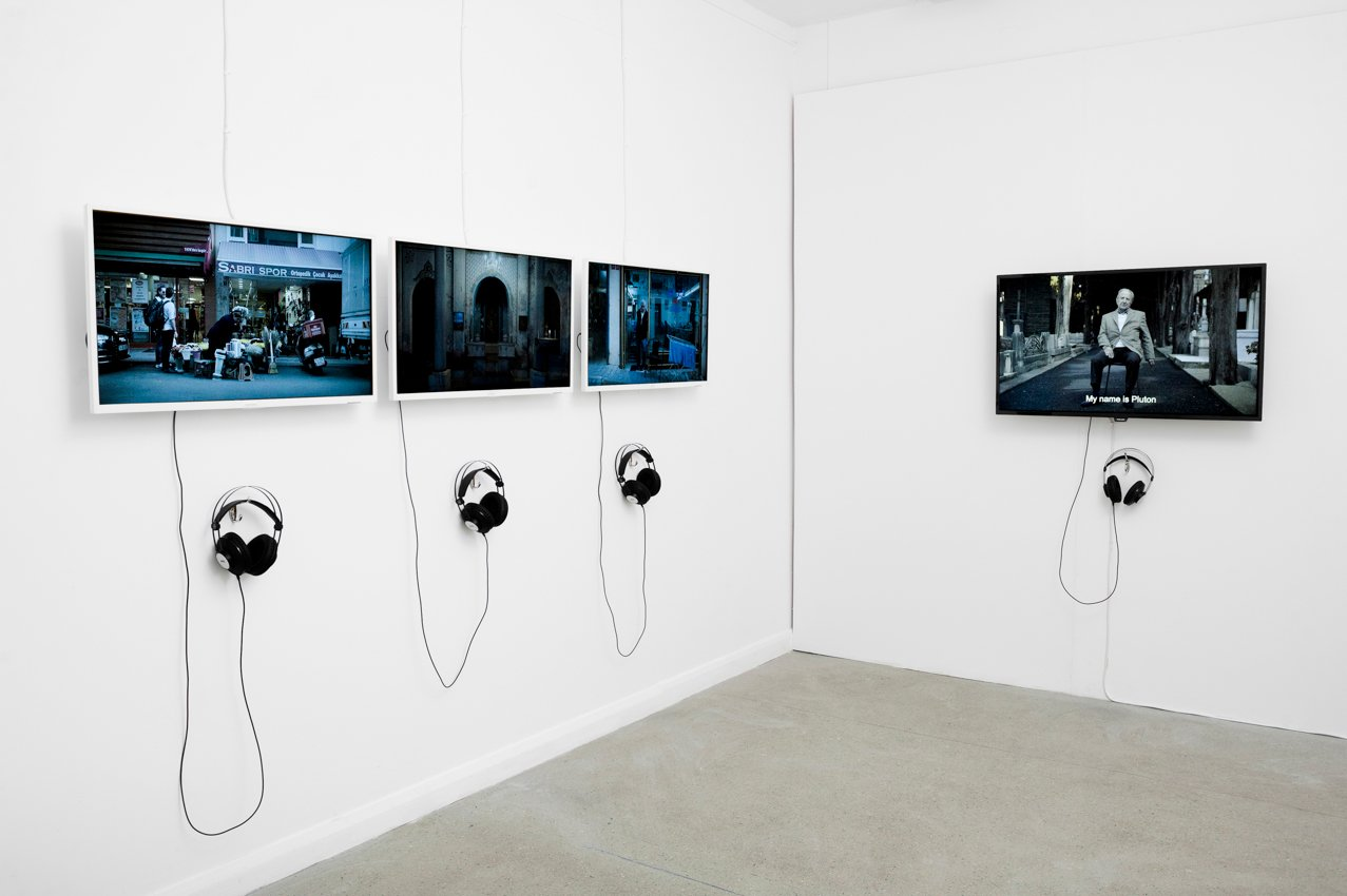 Some video works are seen at the exhibition opened in London's the Furtherfield Gallery. (Courtesy of British Council)