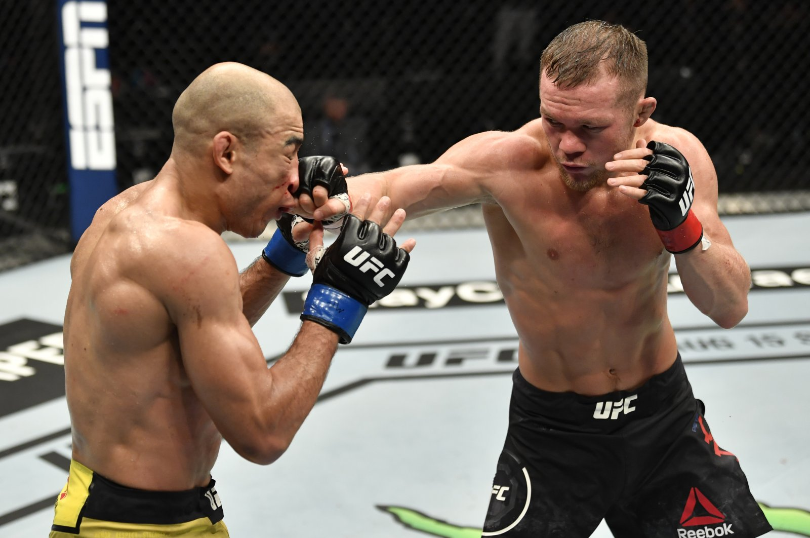 Petr Yan punches Jose Aldo in their UFC bantamweight championship fight on UFC Fight Island, Abu Dhabi, UAE, July 12, 2020. (Reuters Photo)