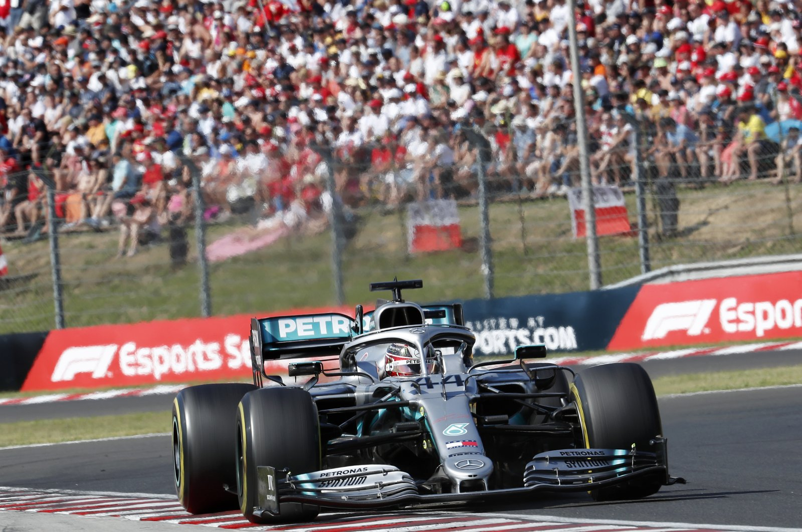 Mercedes driver Lewis Hamilton during the Hungarian GP in Mogyorod, Hungary, Aug. 4, 2019. (AP Photo)