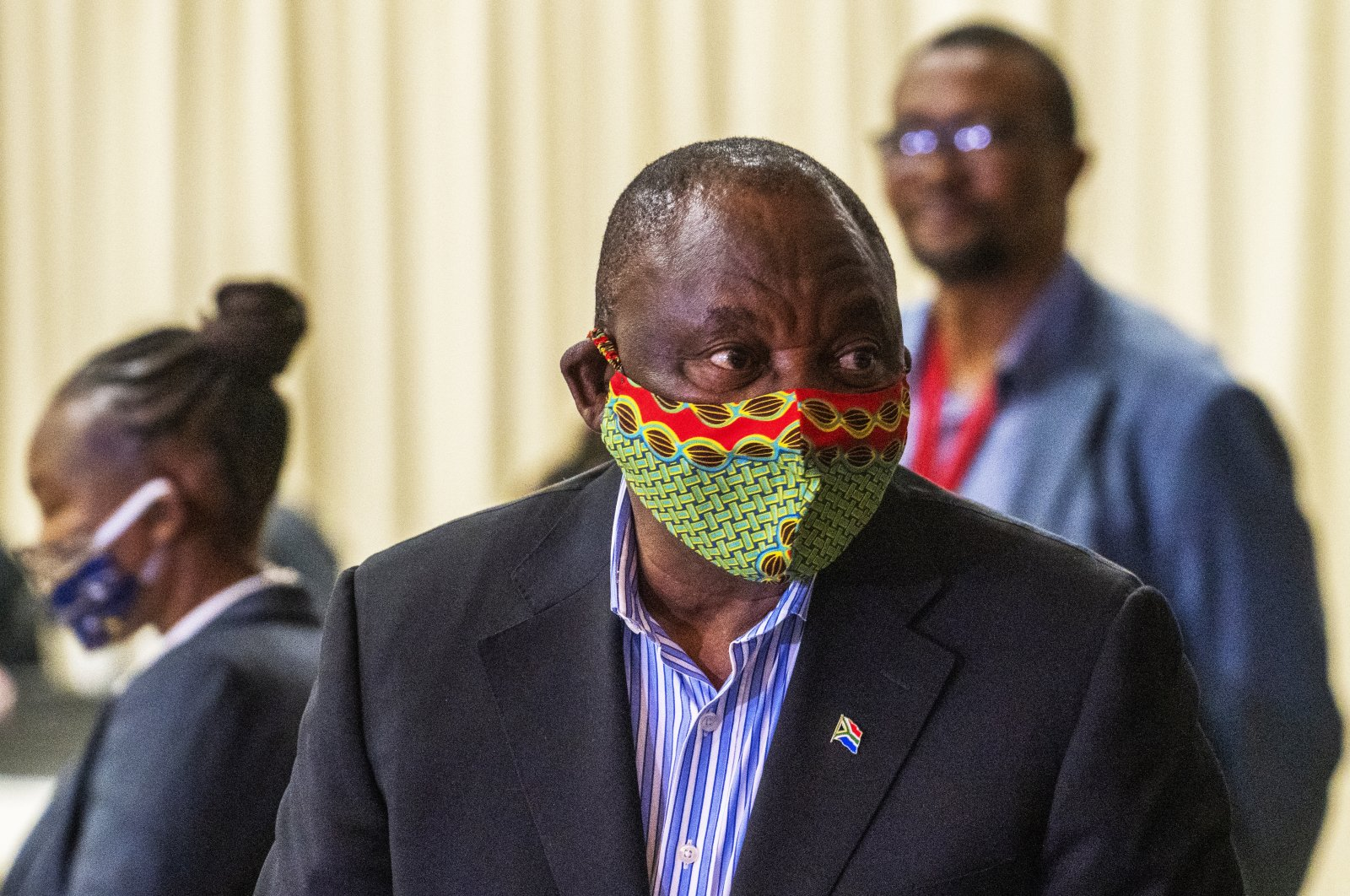 South African President Cyril Ramaphosa arrives at the NASREC Expo Centre in Johannesburg, South Africa, April 24, 2020. (AP Photo)
