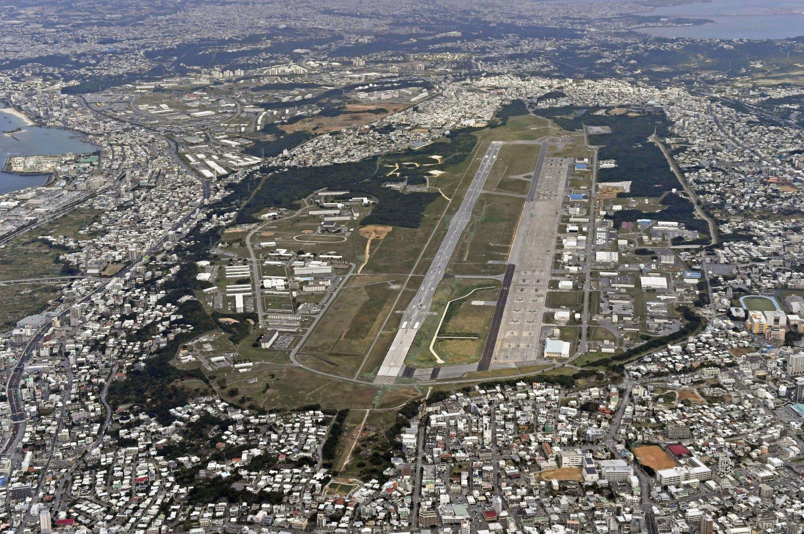 This aerial file photo shows U.S. Marine Air Station Futenma in Ginowan, Okinawa, southern Japan, Jan. 27, 2018. (Kyodo News via AP)