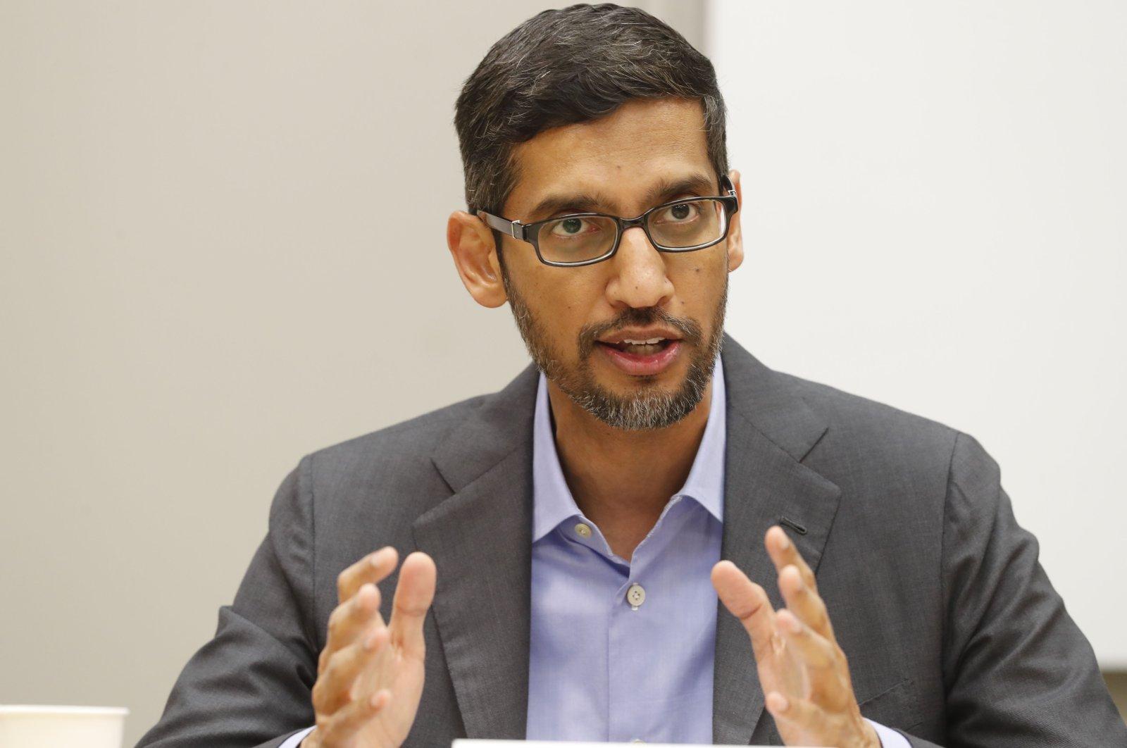 Google CEO Sundar Pichai speaks during a visit to El Centro College in Dallas, Texas, Oct. 13, 2019. (AP Photo)