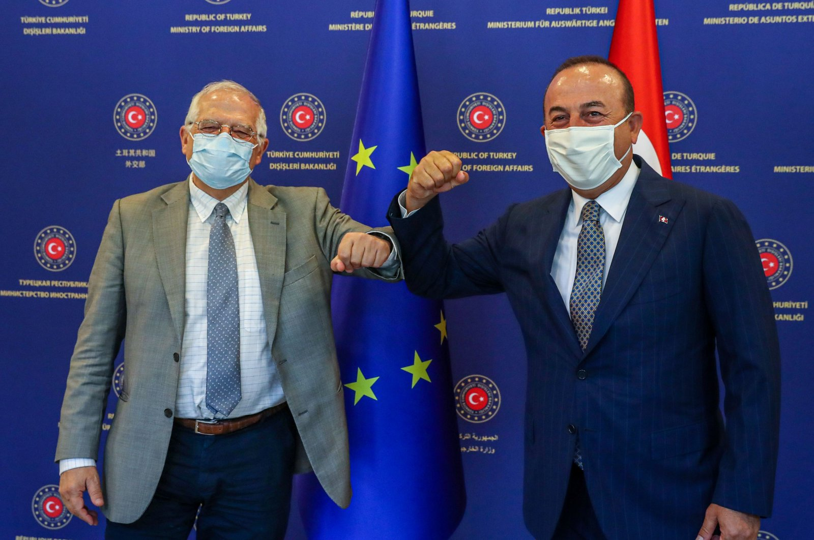 Foreign Minister Mevlüt Çavuşoğlu (R) and High Representative of the European Union for Foreign Affairs and Security Policy, Josep Borrell (L) pose for a photo before their meeting in Ankara, July 6, 2020. (AFP Photo)