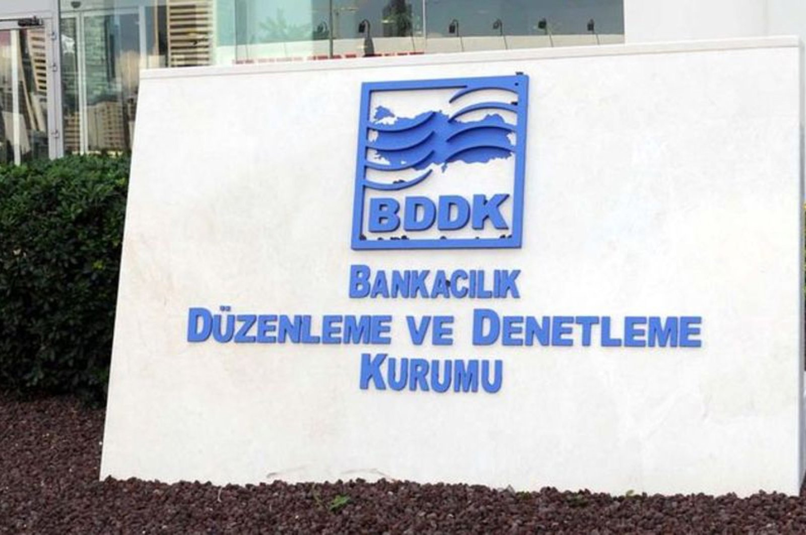 The Banking Regulation and Supervision Agency's (BDDK) logo is seen in front of its headquarters in Istanbul, Turkey, in this undated photo.