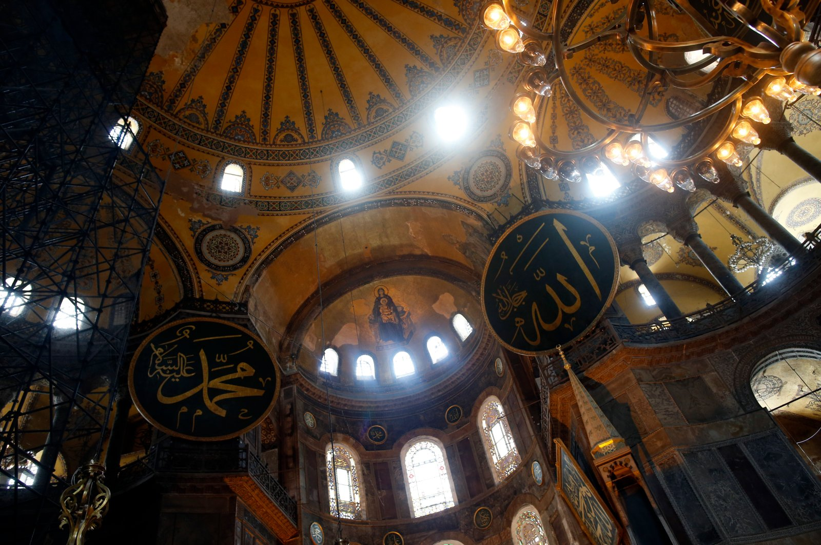 A view of the Hagia Sophia, a UNESCO World Heritage site and one of Istanbul's main tourist attractions in the historic Sultanahmet district of Istanbul, July 10, 2020. (AP Photo)