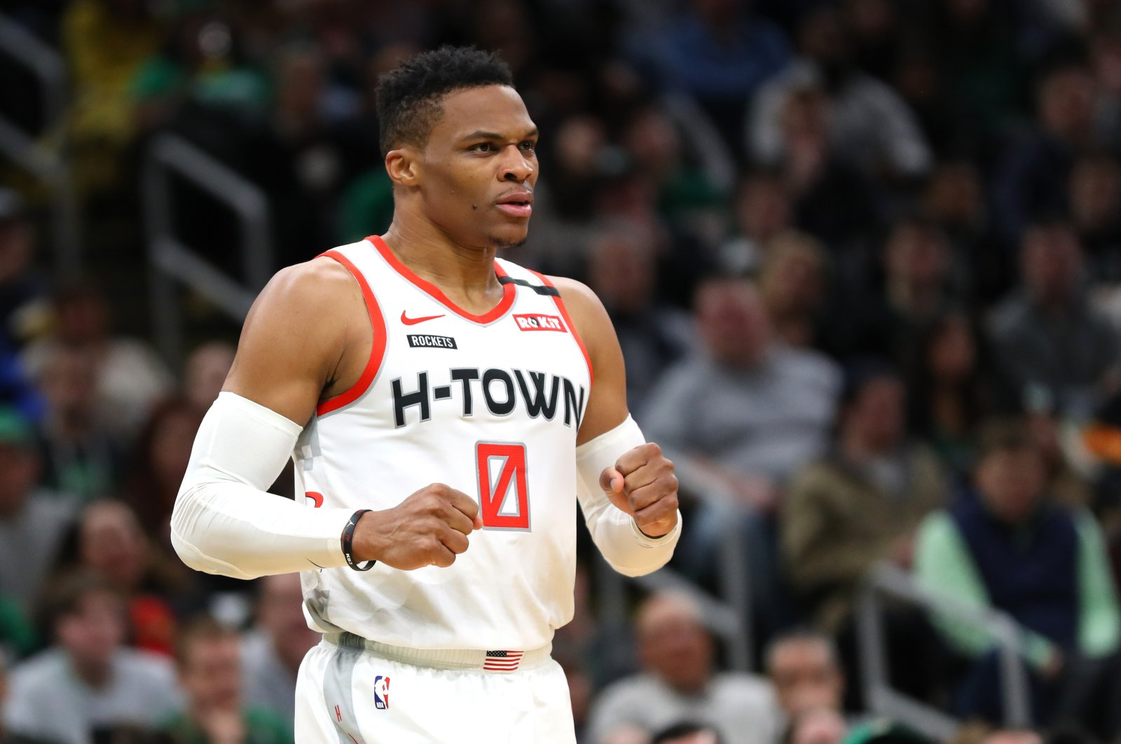 Russell Westbrook of the Houston Rockets reacts during an NBA game in Boston, Massachusetts, U.S., Feb. 29, 2020. (AFP Photo)