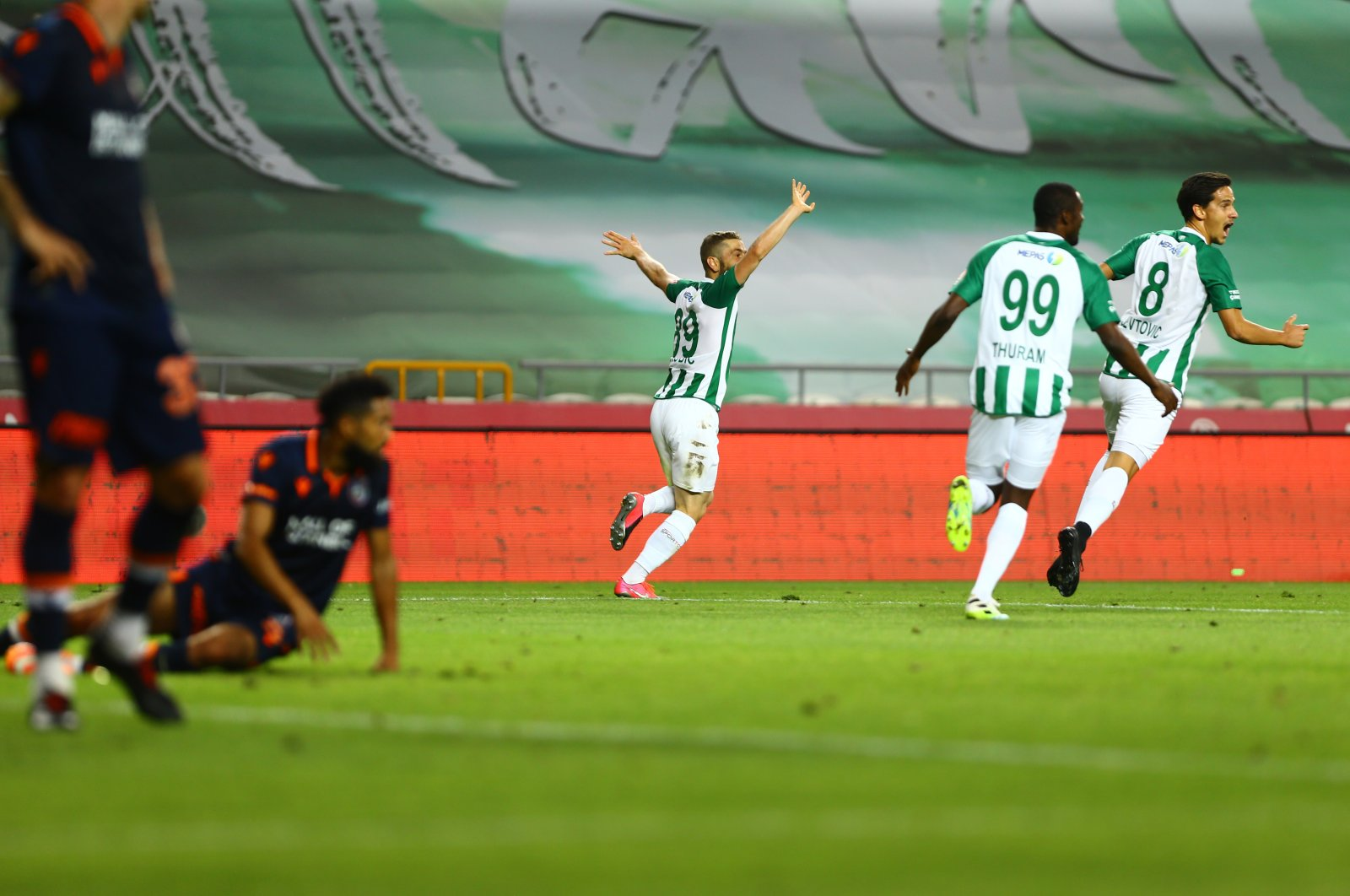 Konyaspor players celebrate defeating Başakşehir in Konya, Turkey, July 13, 2020. (AA Photo)