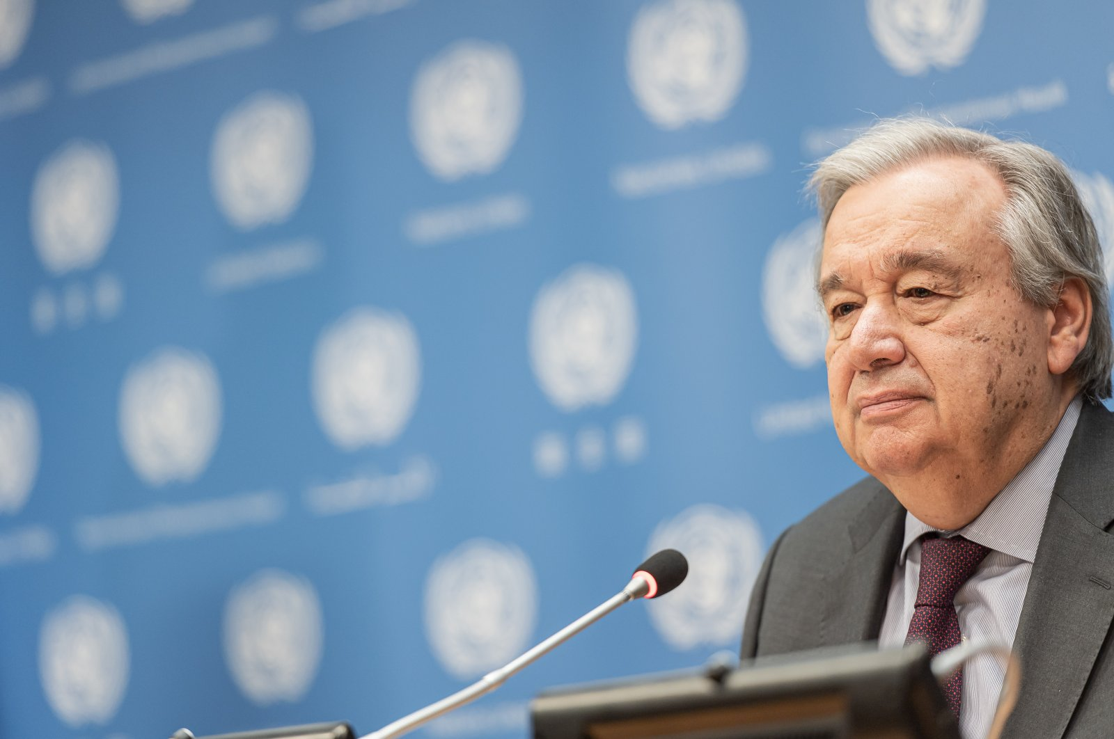 U.N. Secretary-General Antonio Guterres is seen during a briefing regarding the latest World Meteorological Organization (WMO) State of the Climate report at U.N. Headquarters in New York City, New York, U.S., March 10, 2020. (Reuters Photo)
