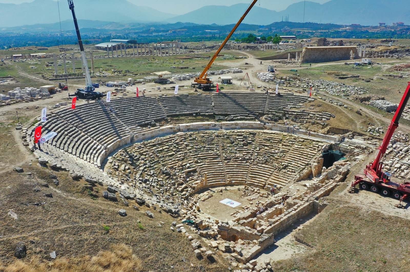 A photo from the restoration works at the Western Theater of the ancient city of Laodicea, Denizli, southwestern Turkey, July 13, 2020. (AA PHOTO)