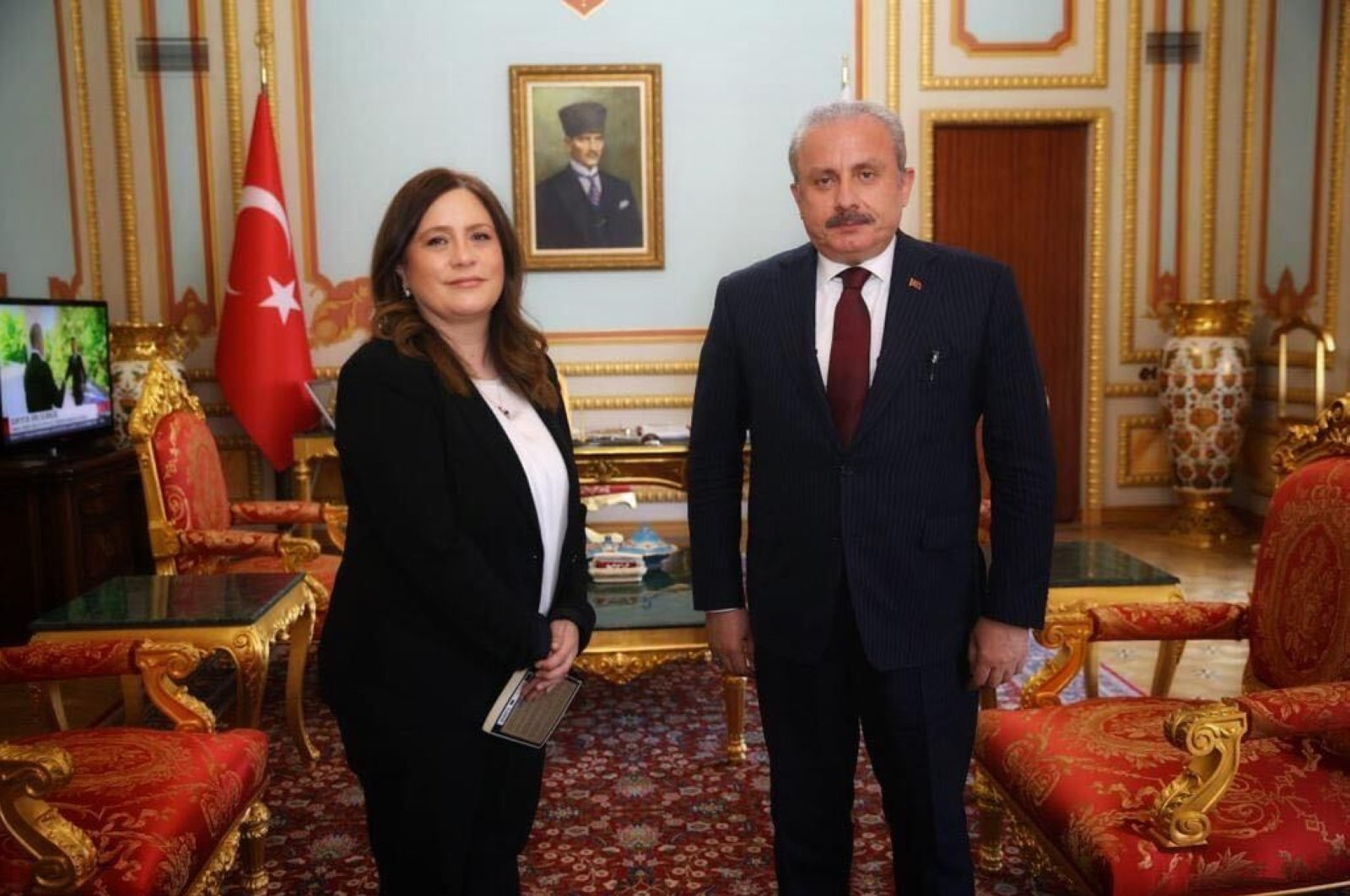 Turkish Parliament Speaker Mustafa Şentop (R) stands with Daily Sabah Ankara Representative Nur Özkan Erbay (L), Ankara, Turkey, July 14, 2020. (Daily Sabah Photo)