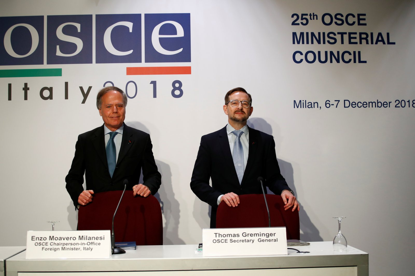 Italian Foreign Minister and OSCE Chairperson-in-Office Enzo Moavero Milanesi and OSCE Secretary General Thomas Greminger arrive for a press briefing at the end of the Organization for Security and Co-operation in Europe (OSCE) summit in Milan, Italy, Dec. 7, 2018. (Reuters File Photo)