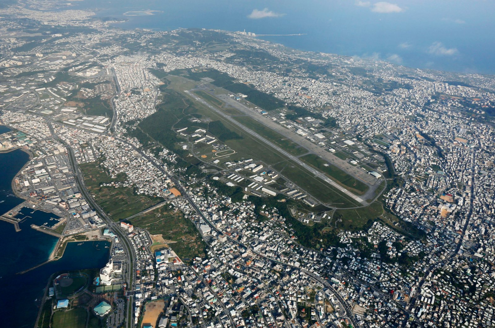 In this file photo U.S. Marine Corps Air Station Futenma in Ginowan, Okinawa, southern Japan, October 2015. (AP Photo)