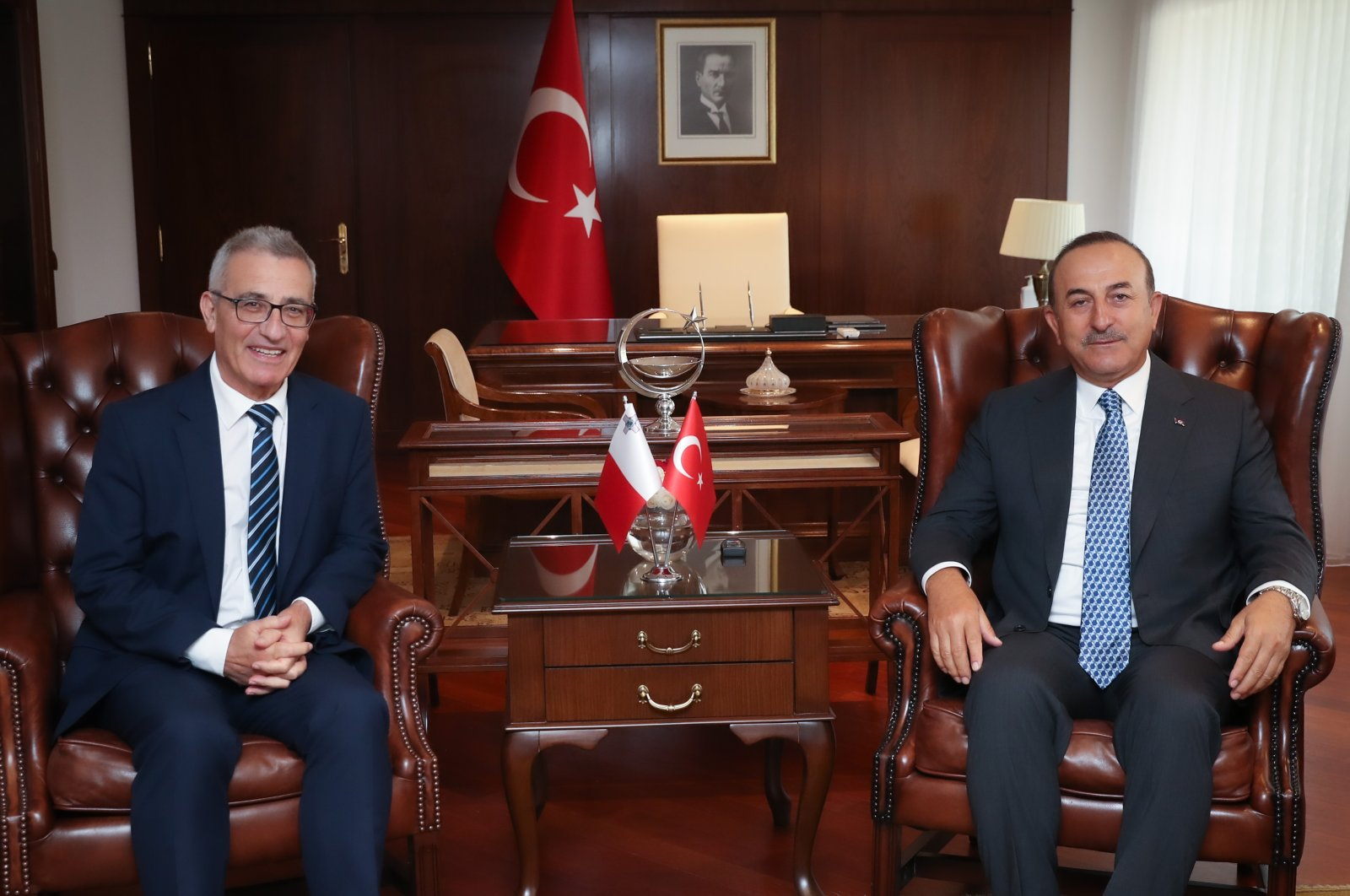 Foreign Minister Mevlüt Çavuşoğlu receives his Maltese counterpart Evarist Bartolo in the capital Ankara, Turkey, July 14, 2020. (AA Photo)