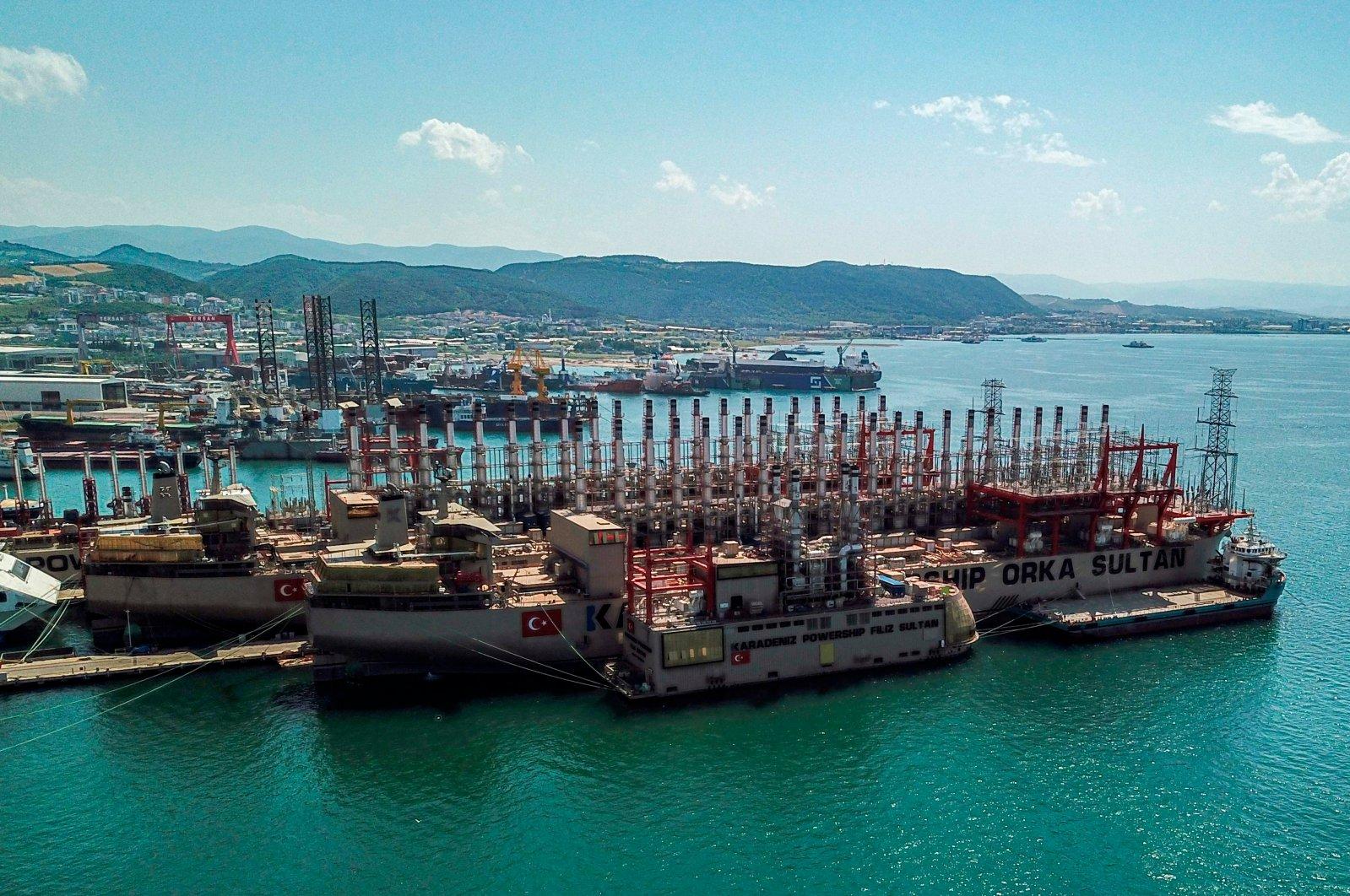 Two Turkish powerships are seen docked in a shipyard in Yalova's Altınova district, Turkey, June 16, 2020. (AFP Photo)