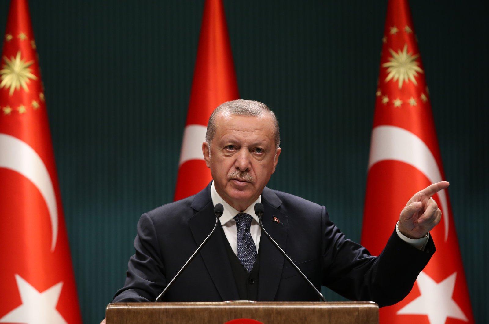 President Recep Tayyip Erdoğan speaks to press members after chairing a cabinet meeting, Ankara, July 14, 2020. (AA Photo)