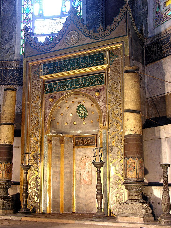 The mihrab, which is a semicircular niche in the wall of a mosque that indicates the direction that Muslims should face when praying, in Hagia Sophia.