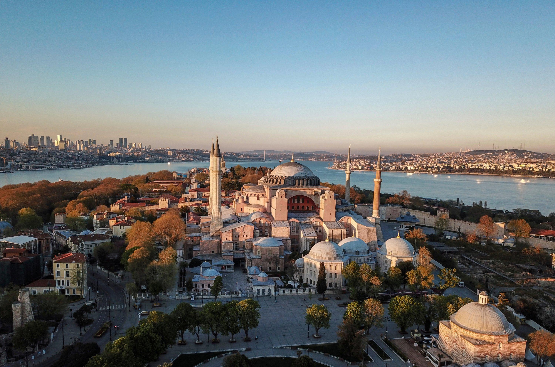 An aerial view of Hagia Sophia, Istanbul, Turkey, April 25, 2020. (AP PHOTO)