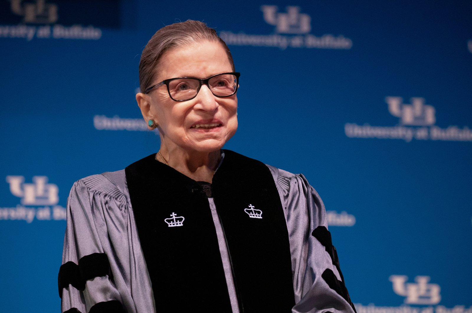 U.S. Supreme Court Justice Ruth Bader Ginsburg smiles during a reception where she was presented with an honorary doctoral degree at the University of Buffalo School of Law in Buffalo, New York, U.S., Aug. 26, 2019. (Reuters Photo)