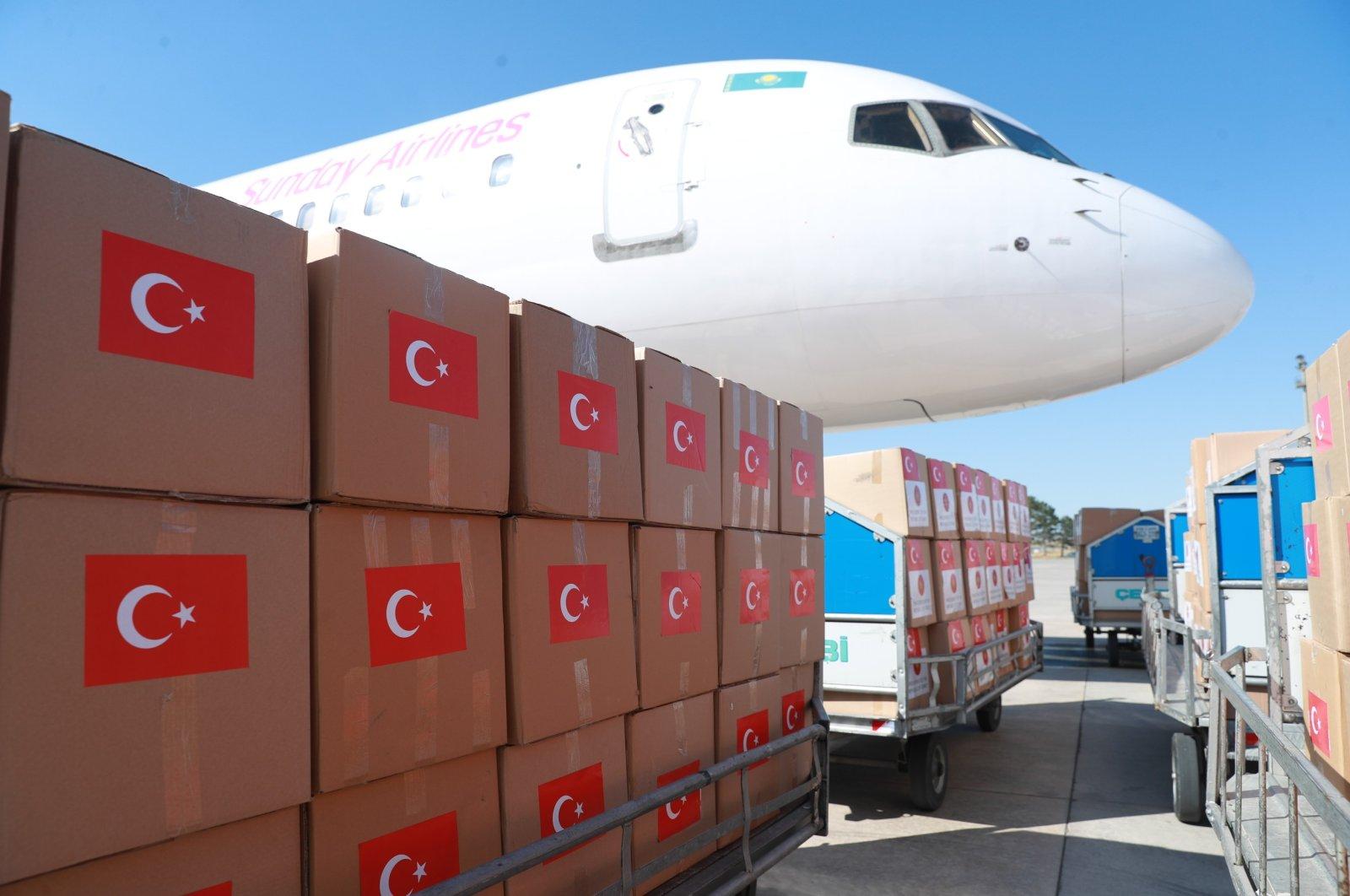 Turkish medical supplies are prepared to be sent to Kazakhstan to help the country fight the coronavirus pandemic, Ankara, Turkey, July 13, 2020 (IHA Photo)