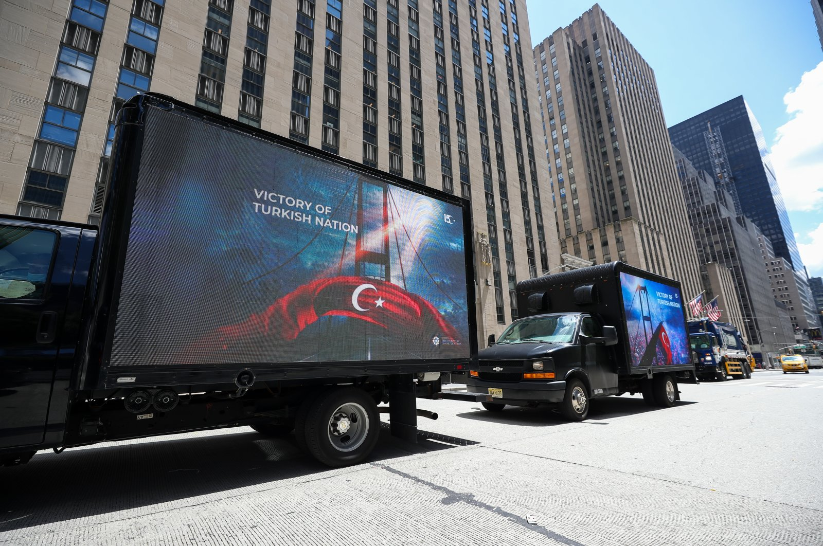 Digital LED vans with banners tour New York City to raise awareness about the defeated coup staged by the Gülenist Terror Group (FETÖ) ahead of the fourth anniversary of the July 15 coup attempt in Turkey, New York, July 14, 2020. (AA Photo)