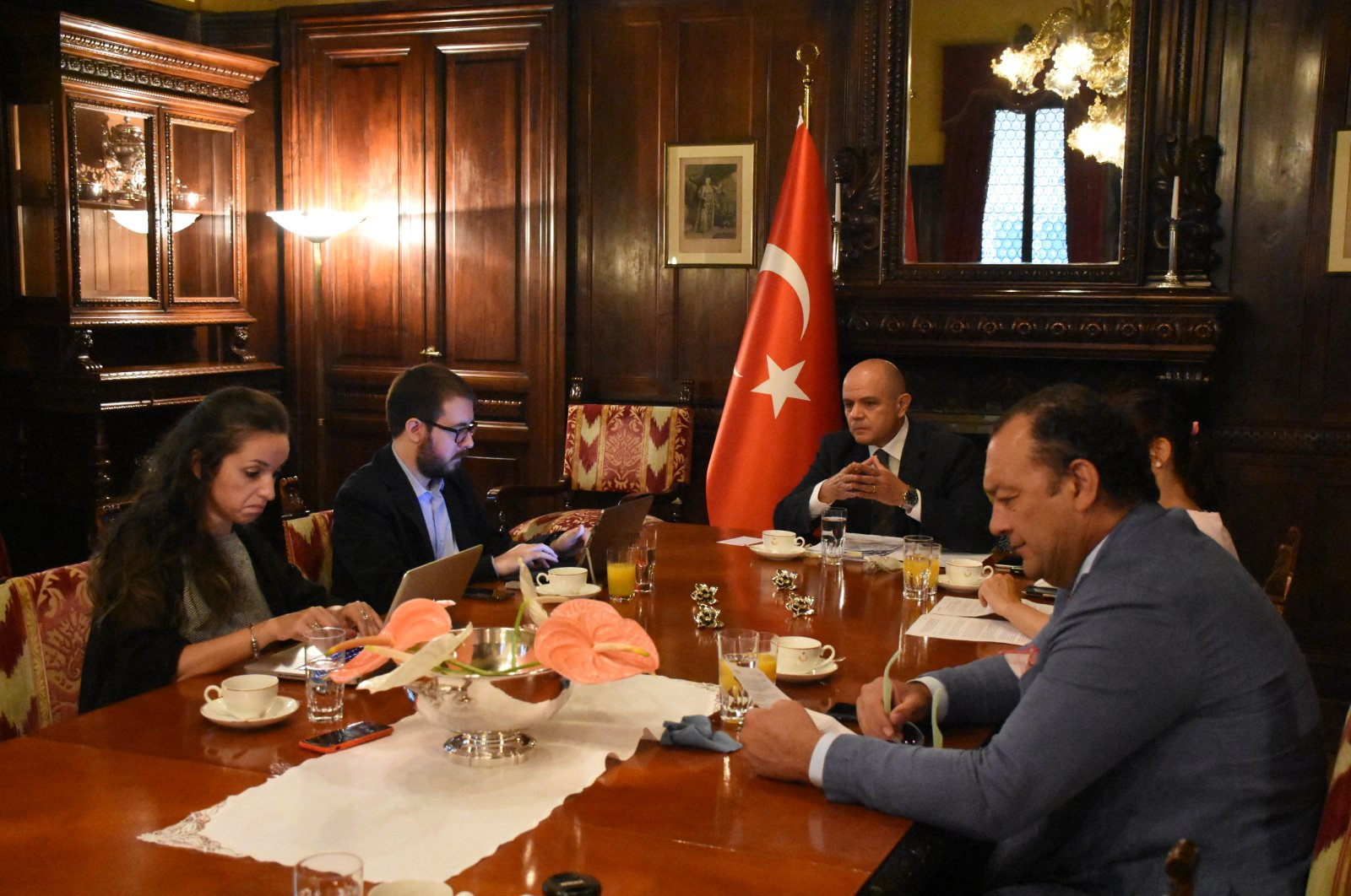 Turkey's Ambassador to Italy Murat Esenli hosts a press meeting with Turkish and Italian journalists in Rome, July 14, 2020. (AA Photo)