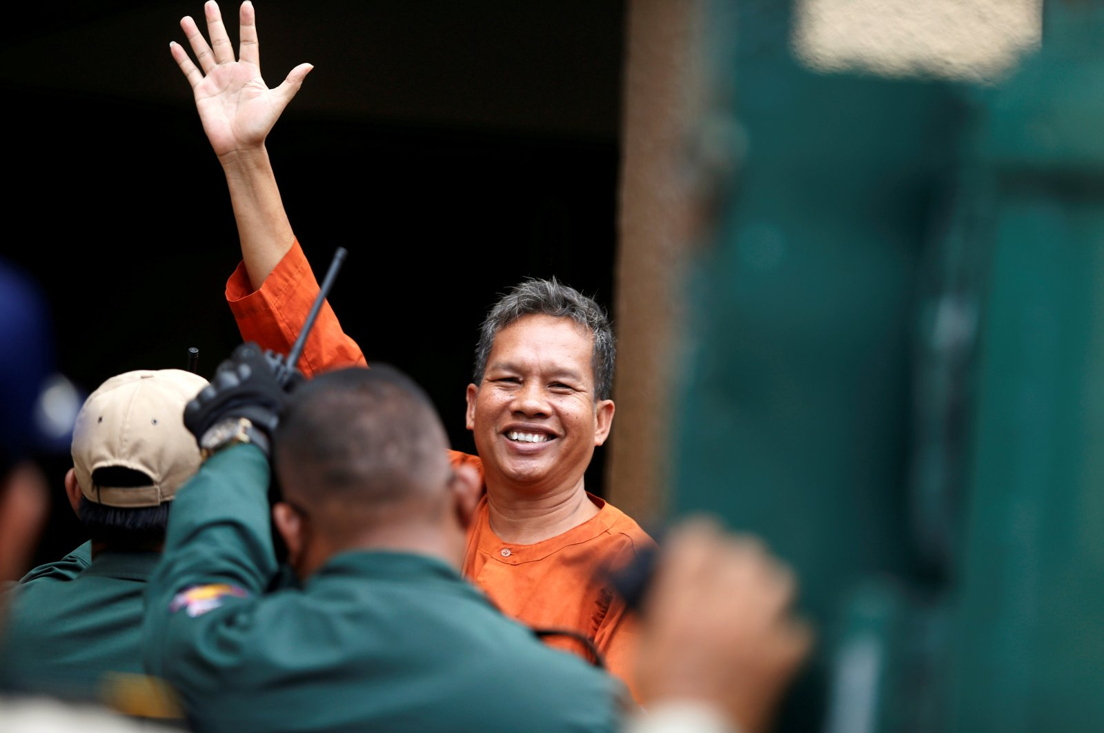 Labor activist Rath Rott Mony arrives to the Phnom Penh Municipal Court for verdict over his role in making a documentary about sex-trafficking that the government said contained fake news, in Phnom Penh, Cambodia on June 26, 2019. (Reuters Photo)