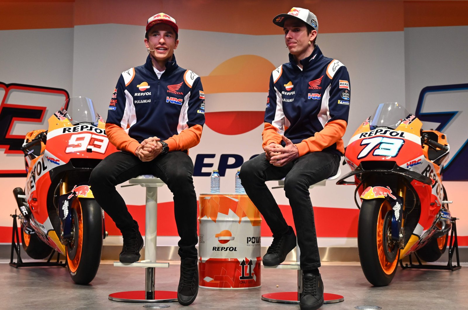 Repsol Honda Team's Spanish MotoGP driver Marc Marquez (L) and his brother and teammate Alex Marquez attend the presentation of the new Repsol Honda team in Madrid, Spain, Feb. 27, 2020. (AFP Photo)