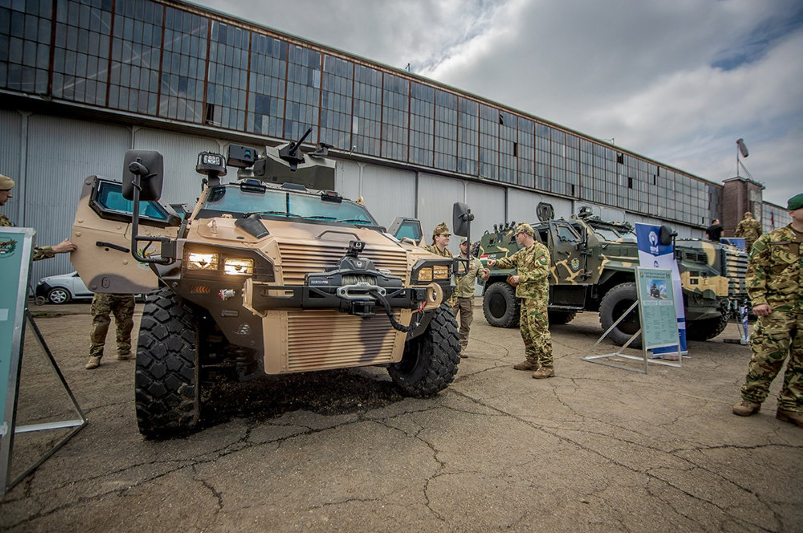 Nurol Makina's armored land vehicles are exhibited at an event in Hungary alongside those of other manufacturers on a purchasing stage at Budaors Airport, Budapest, Hungary, May 20, 2019. (Photo by Hungarian Armed Forces via AA)