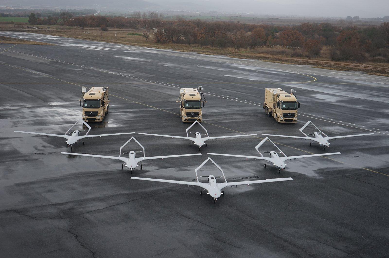 Bayraktar TB2 armed drones in a file photo from Feb. 2, 2019. (Photo by Baykar Makina via AA)