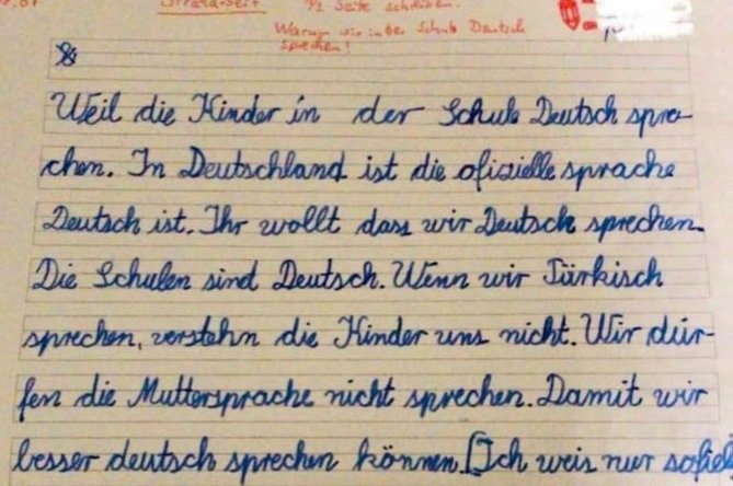 """The Turkish student's punishment was to write an answer to the question, """"Why do we speak German at school?"""" on a piece of paper, at a school near Heidelberg, Germany, July 15, 2020. (IHA Photo)"""