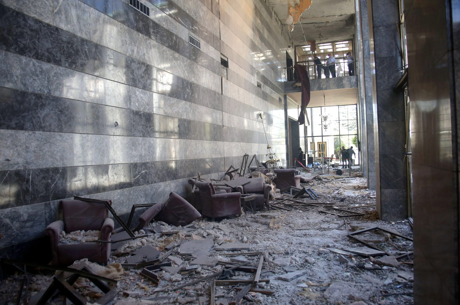 A view of the damage caused by the bombs dropped by the FETÖ's coup plotters to the Turkish parliament in Ankara, July 15, 2016. (PHOTO BY ALİ EKEYILMAZ)