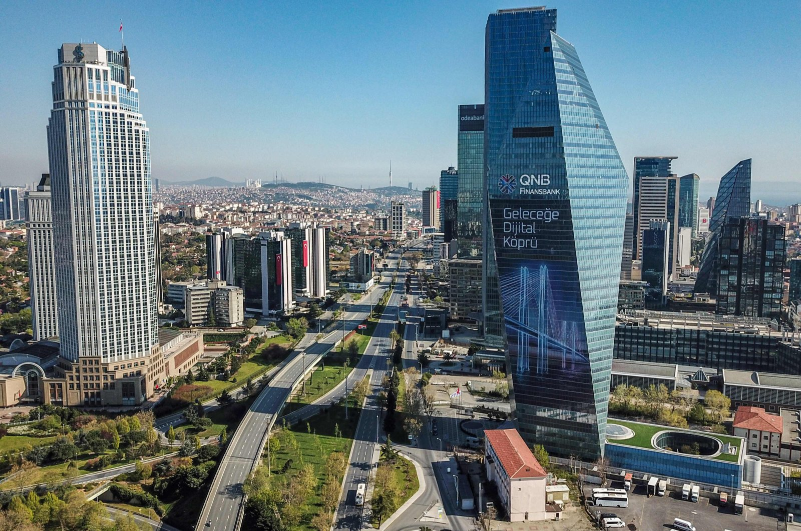 An aerial picture shows the financial district of Levent in Istanbul, Turkey, April 25, 2020. (AFP Photo)