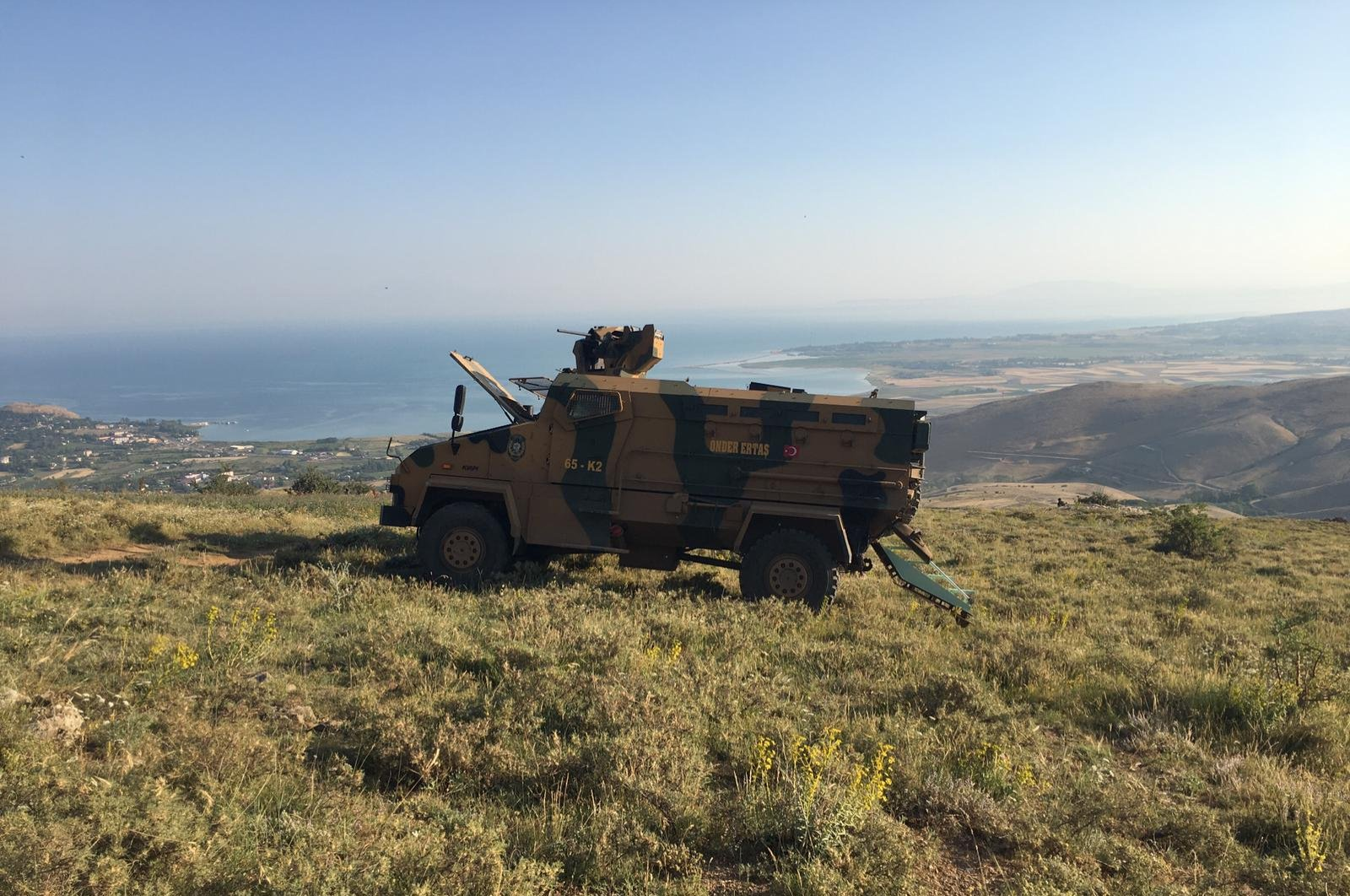 A Turkish military vehicle is seen at Mount Artos in eastern Van province on Thursday, July 16, 2020 (DHA Photo)