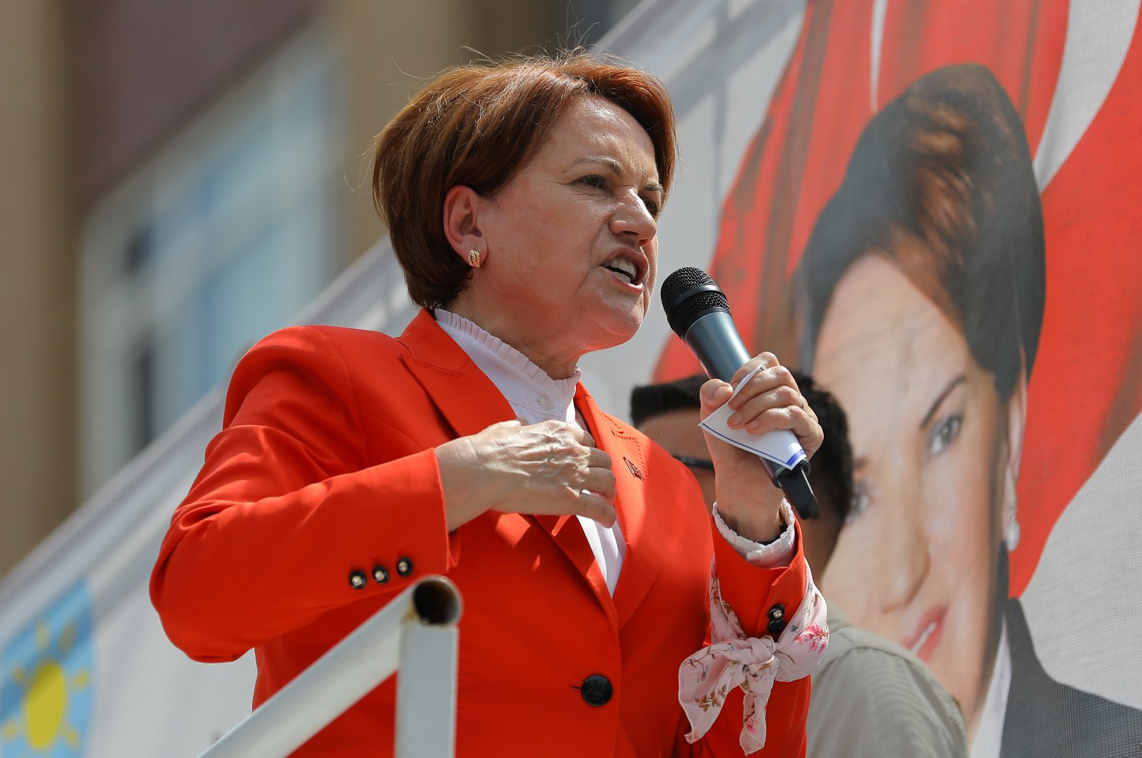 Meral Akşener, chairwoman of the Good Party (IP), speaks during an election rally in Istanbul, Turkey, June 22, 2018. (Reuters File Photo)