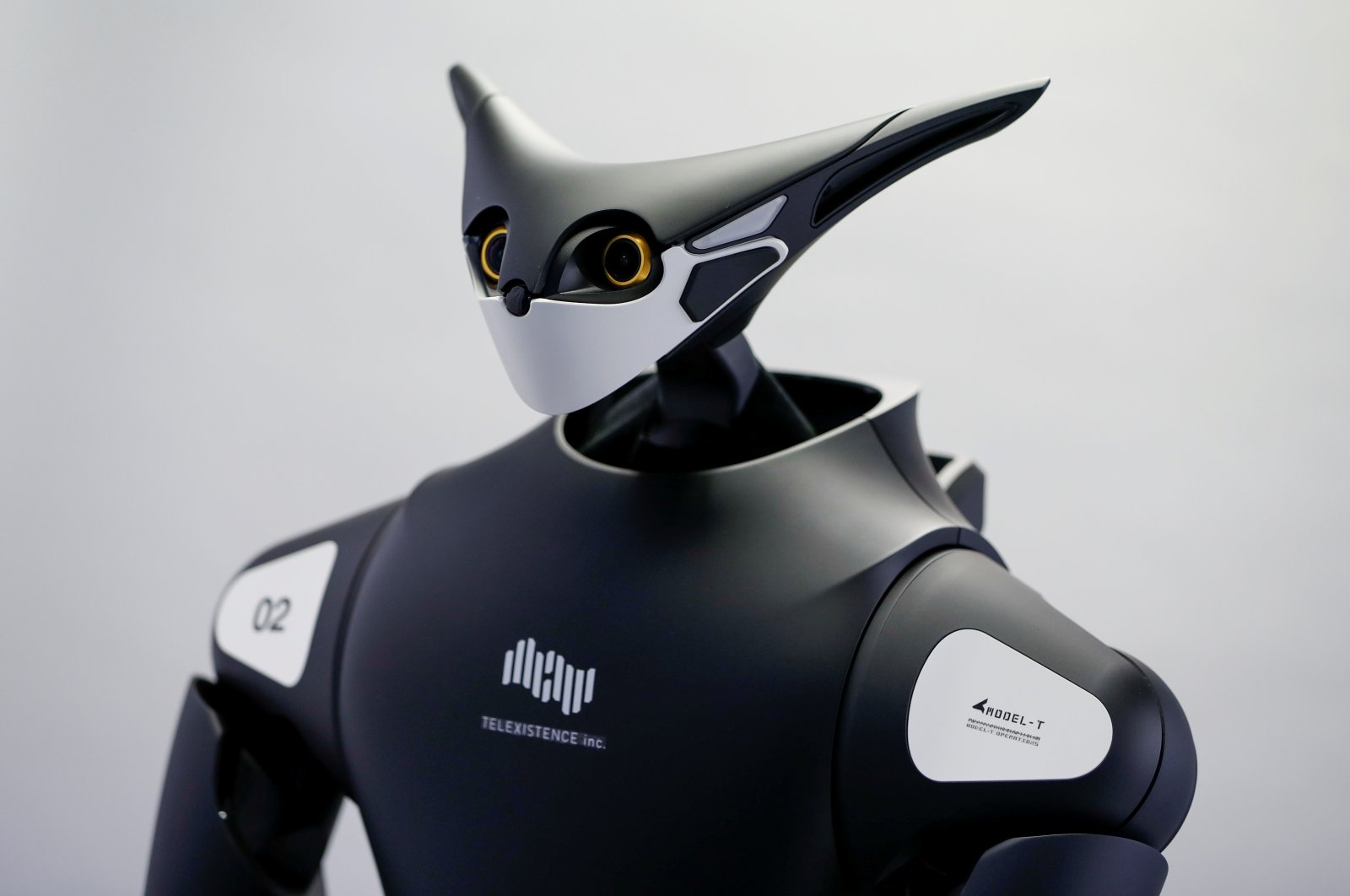 Telexistence's shelf-stocking avatar robot, designed to resemble a kangaroo and developed to work in a convenience store, is seen during a photo opportunity ahead of its unveiling in Tokyo, Japan on July 3, 2020. (Reuters Photo)