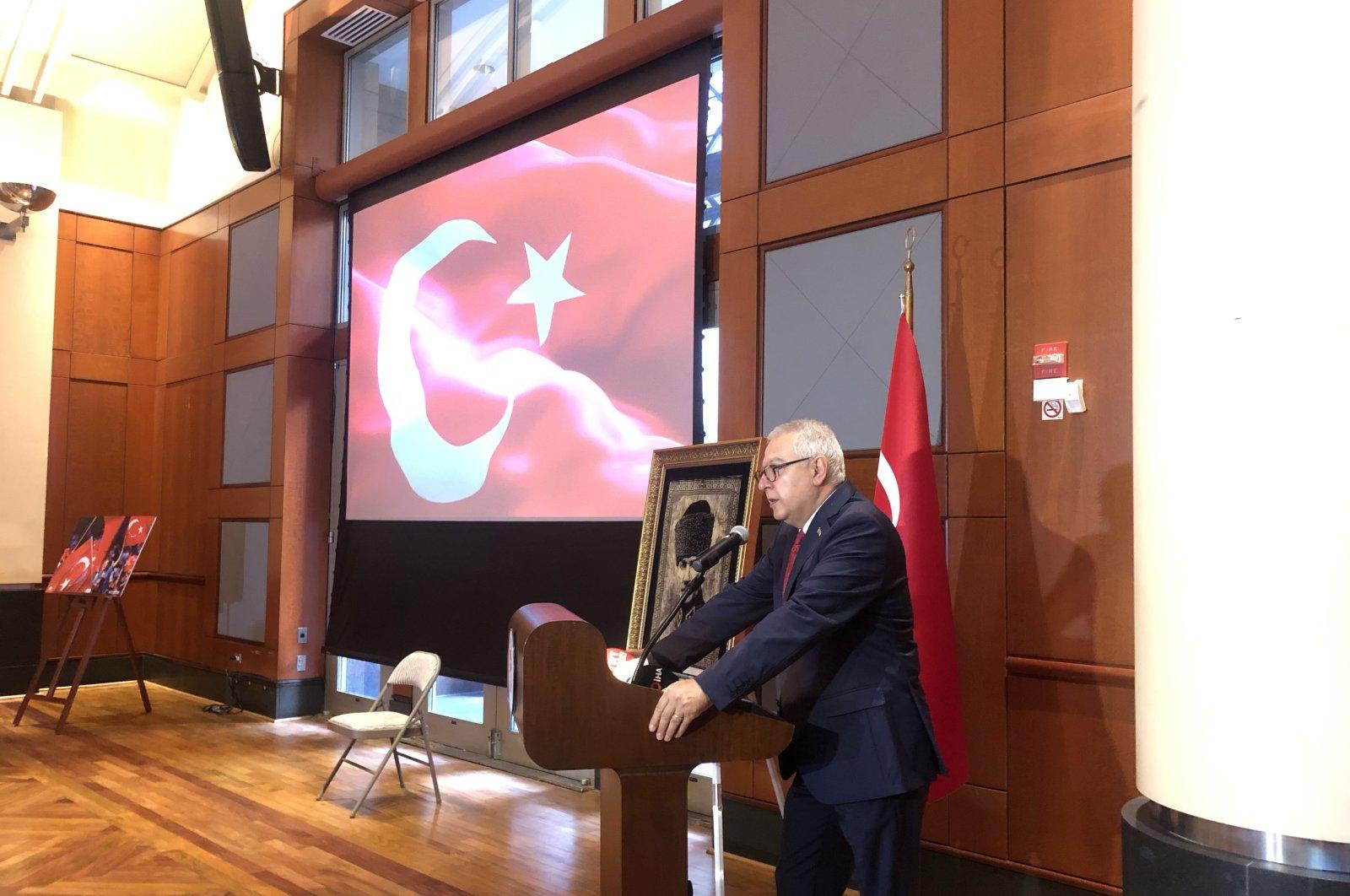 Turkey's Ambassador to the U.S. Serdar Kılıç speaks at an event to mark Democracy and National Unity Day in Washington, D.C., July 15, 2020. (AA Photo)