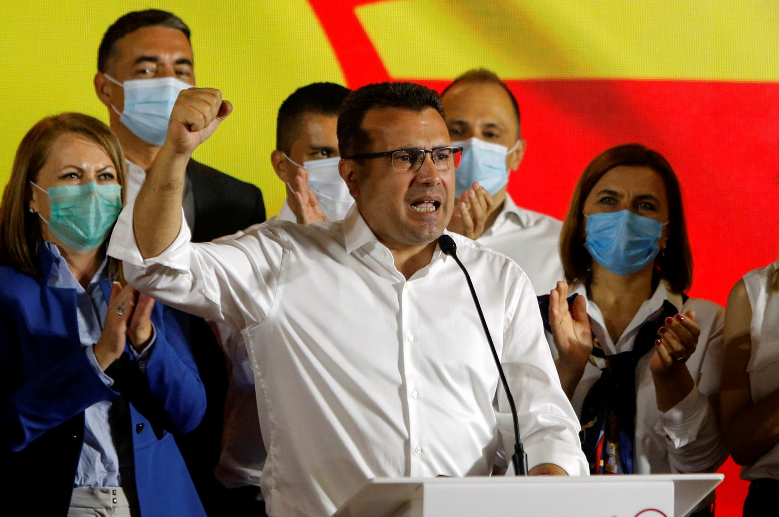 North Macedonia's former prime minister and leader of the ruling SDSM party Zoran Zaev celebrates his victory in a parliamentary election, Skopje, July 16, 2020. (REUTERS Photo)