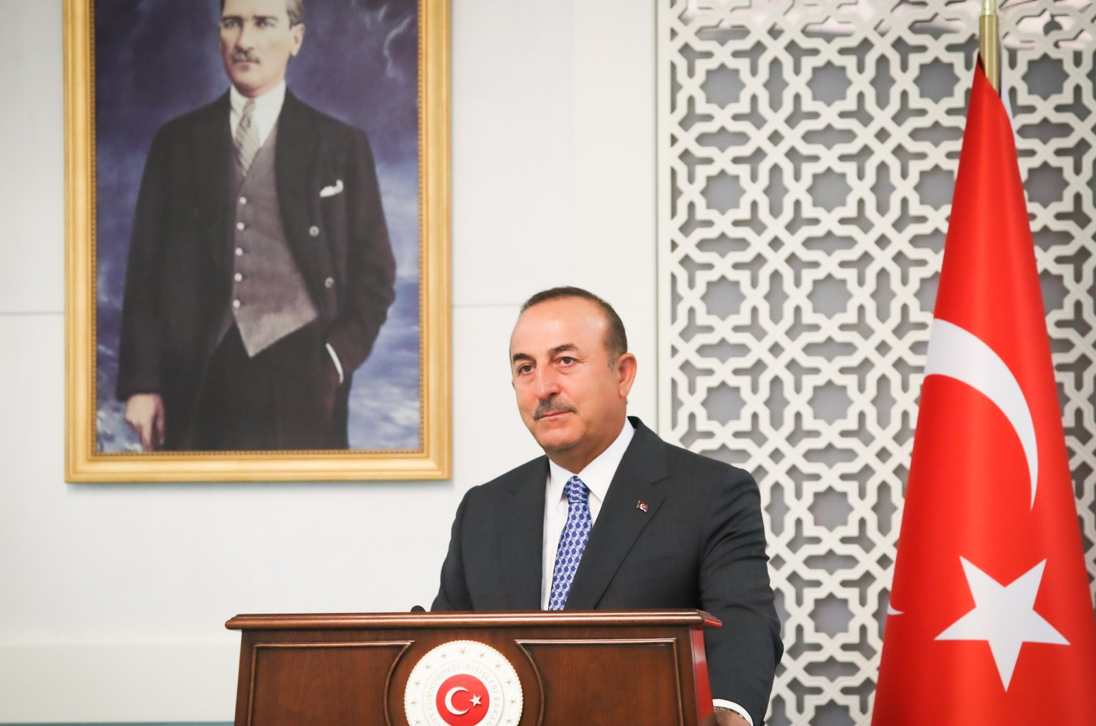 Turkish Foreign Minister Mevlüt Çavuşoğlu attends a press conference following a meeting with his Maltese counterpart Evarist Bartolo in Ankara Turkey, Tuesday, July 14, 2020.(Cem Özdel/Turkish Foreign Ministry via AA)