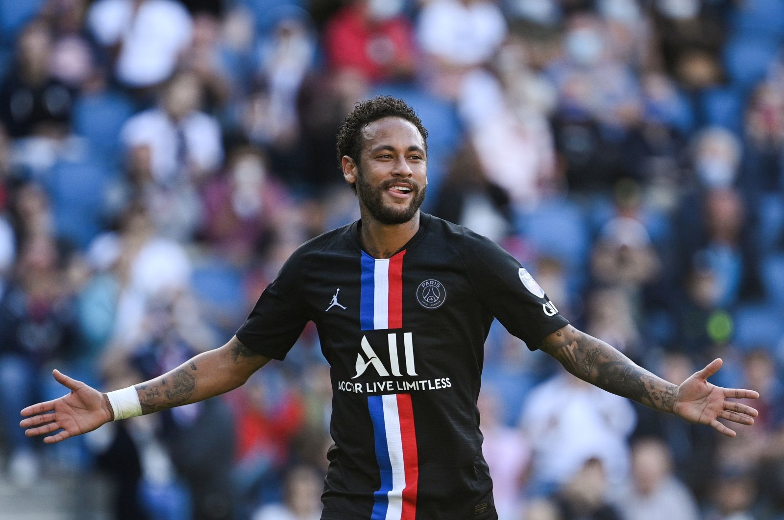 PSG's Neymar celebrates during a friendly match in Le Havre, France, July 12, 2020. (AFP Photo)