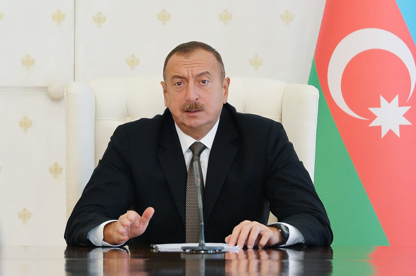 This file photo dated July 10, 2016 shows Azerbaijani President Ilham Aliyev speaking after a Cabinet meeting in Baku, Azerbaijan. (AA Photo)