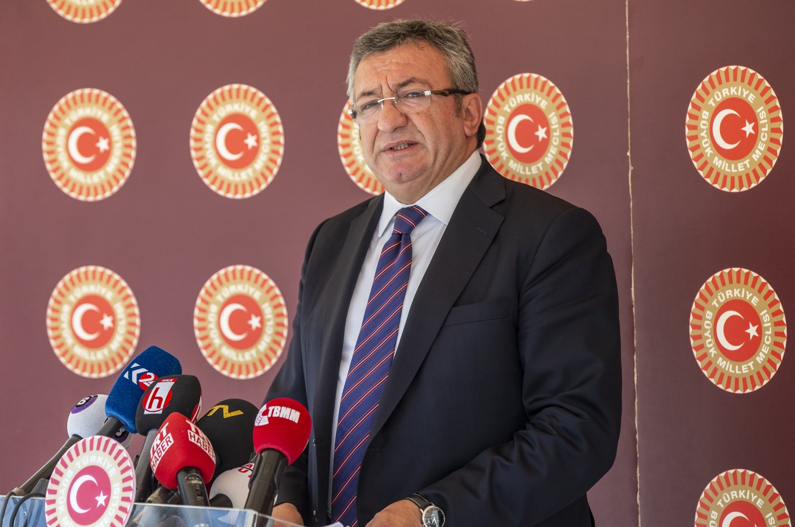 Republican People's Party (CHP) group deputy chairman Engin Altay during a press conference at Parliament in Ankara, Turkey, July 15, 2020. (AA Photo)