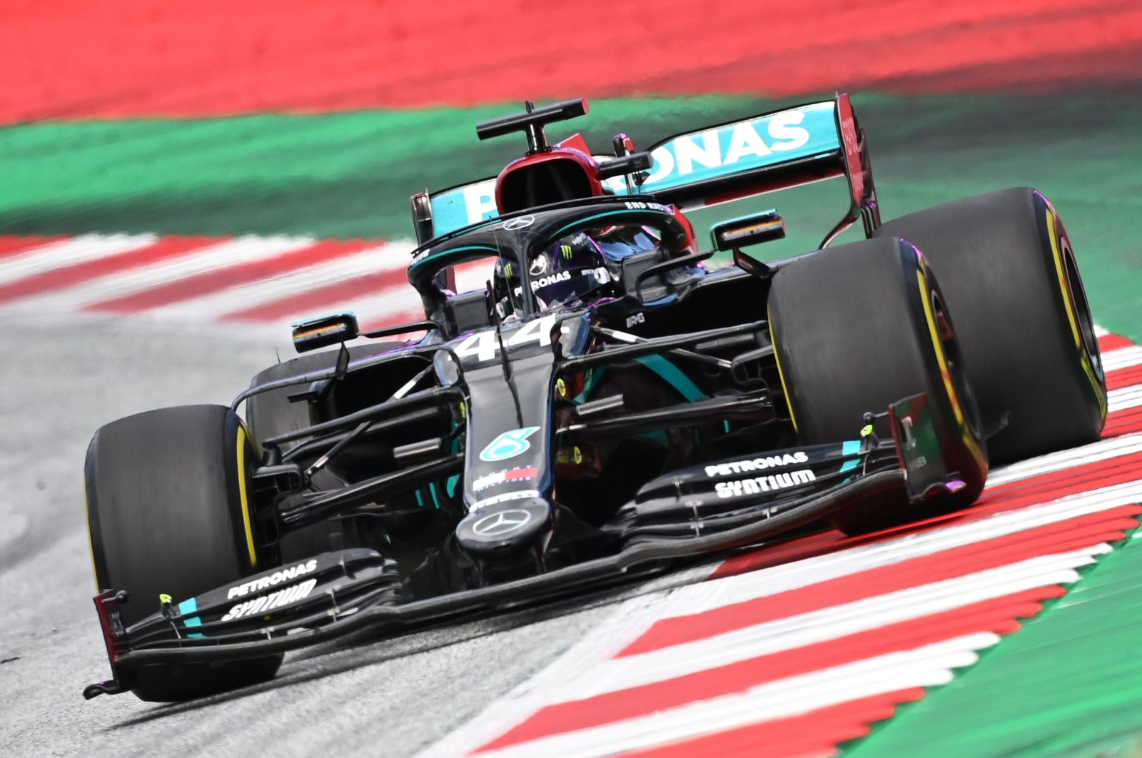 Mercedes' Lewis Hamilton steers his car during the F1 Styrian Grand Prix race in Spielberg, Austria, July 12, 2020. (AFP Photo)