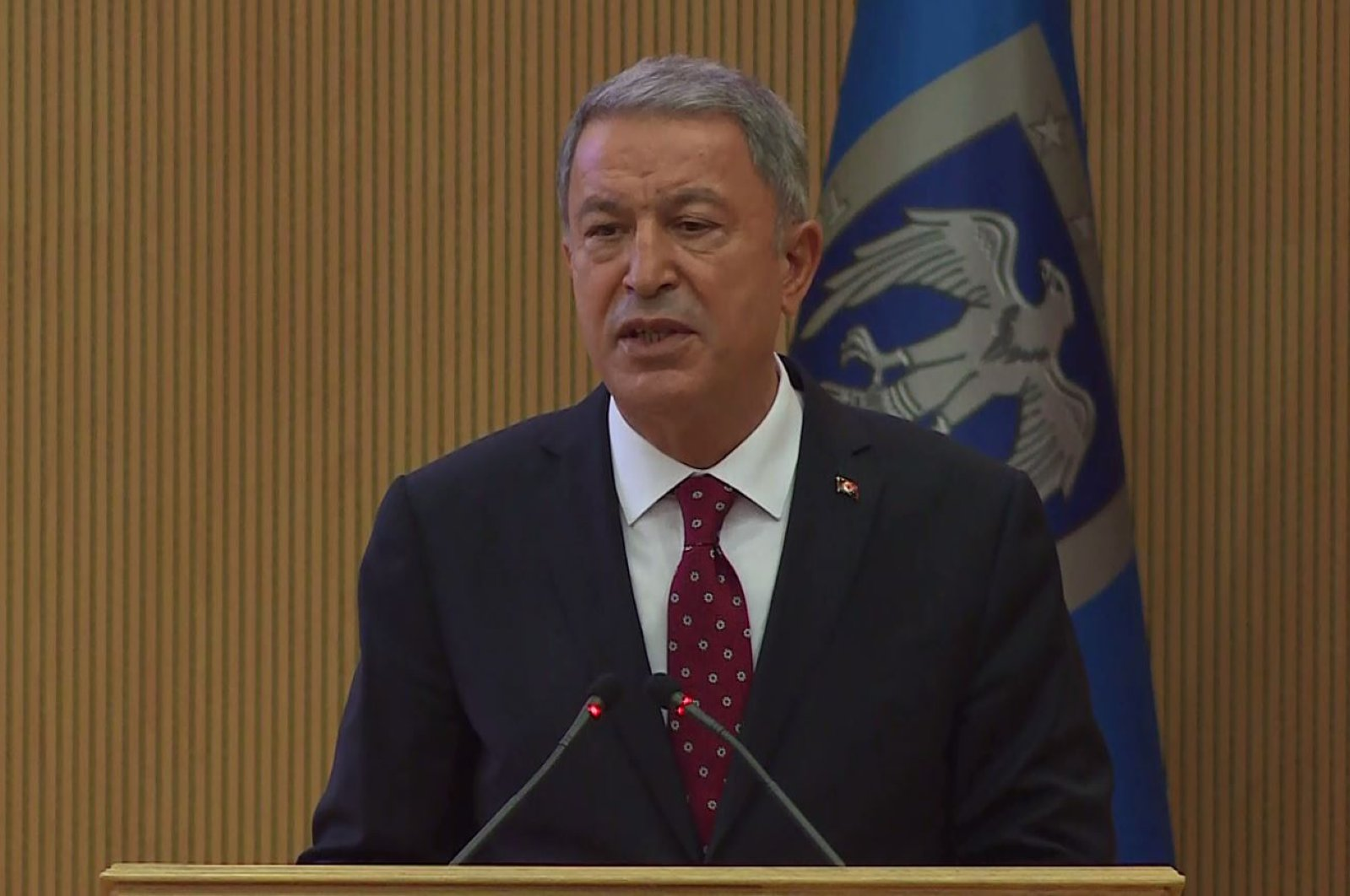 National Defense Minister Hulusi Akar during a speech in Ankara, July 15, 2020. (DHA Photo)