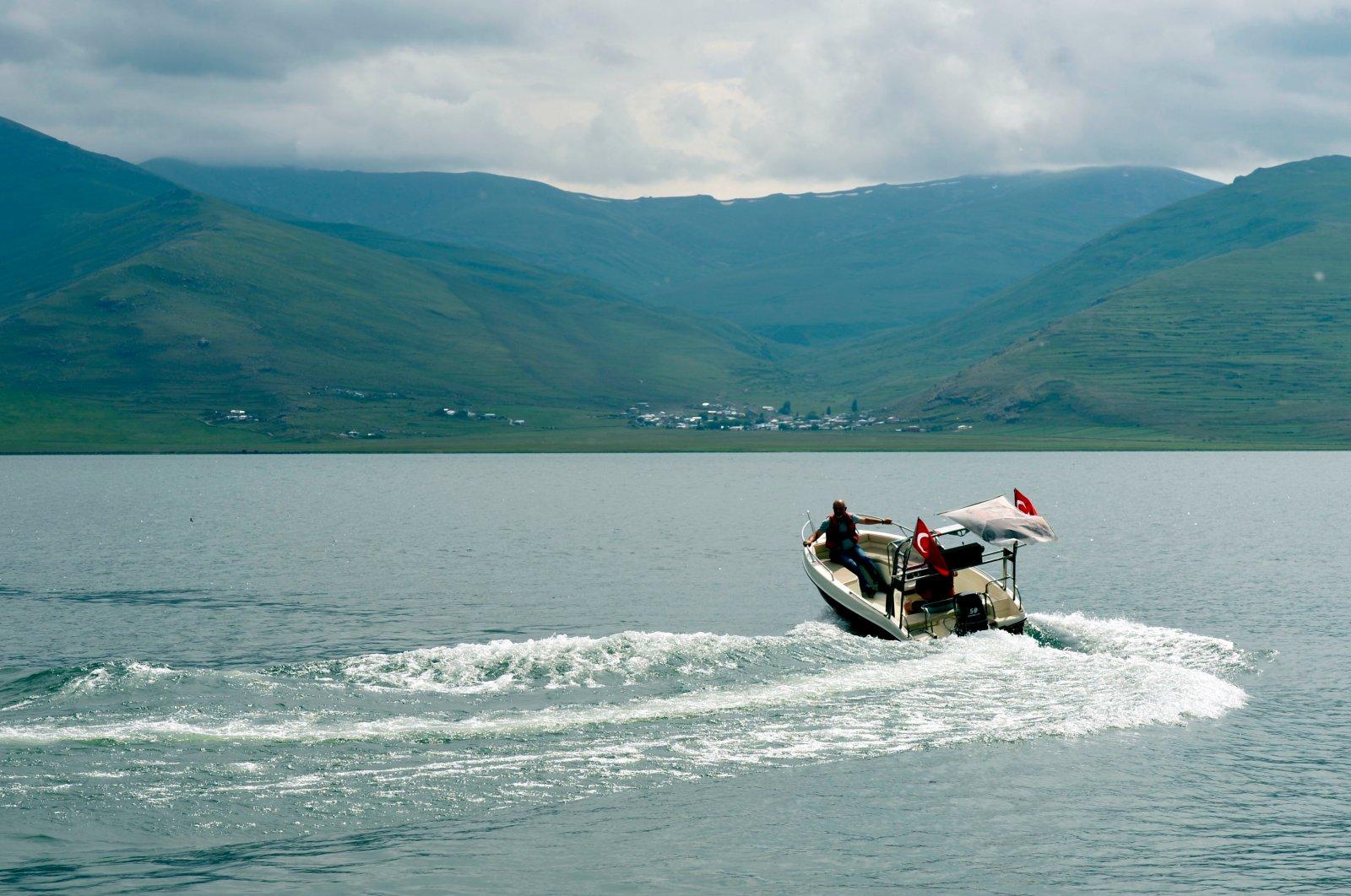 A speedboat races across Çıldır, a freshwater lake, in Ardahan, Turkey, July 12, 2020. (AA Photo)