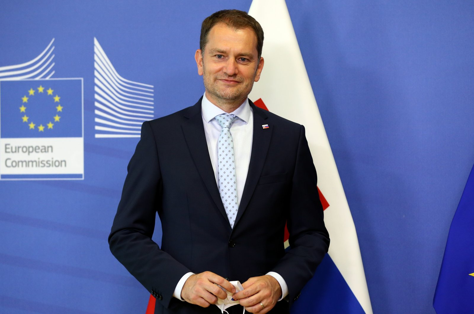 Slovakian Prime Minister Igor Matovic poses for press after a meeting with the President of the European Commission Ursula von der Leyen in Brussels, July 16, 2020. (AA)