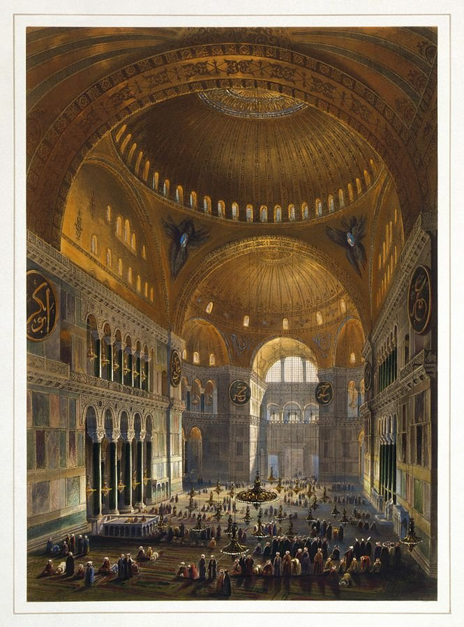 A hand-painted lithograph of Hagia Sophia by Belgian lithographer Louis Haghe after the Swiss architect Gaspare Fossati's restoration.