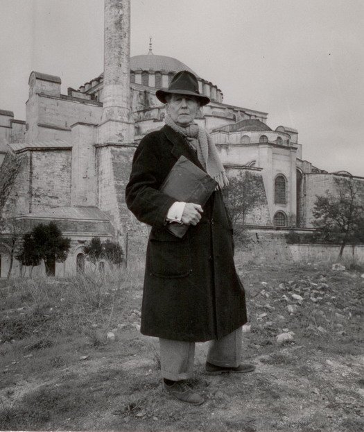 Thomas Whittemore in front of the Hagia Sophia in the 1930s.