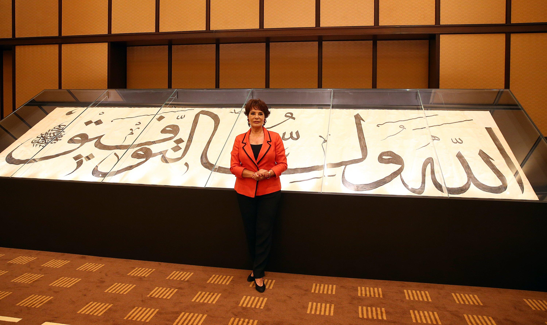 Artist Hülya Koçyiğit stands inside the Presidential Library in Ankara, Turkey, July 14, 2020. (AA Photo)
